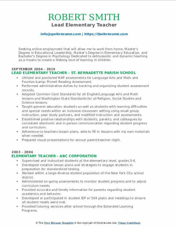Lead Elementary Teacher Resume Format