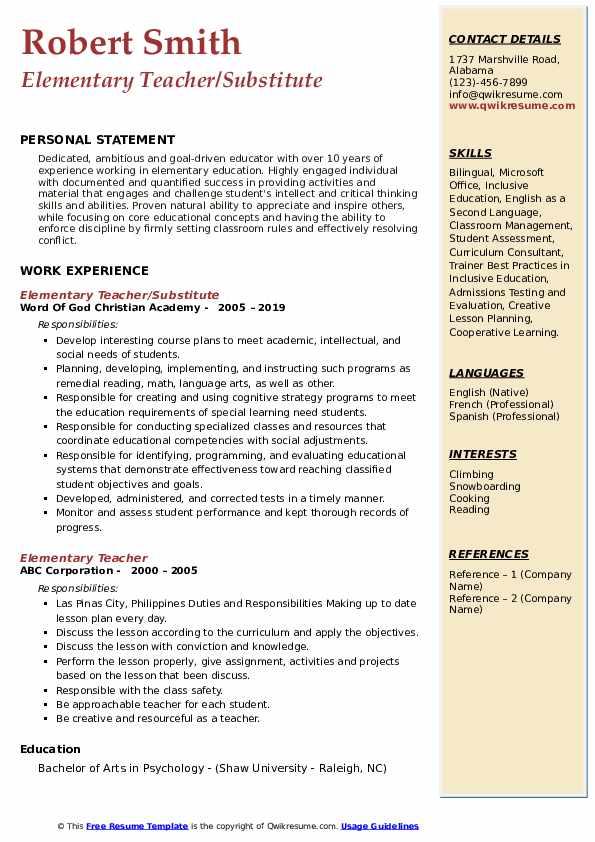 Elementary Teacher/Substitute Resume Format