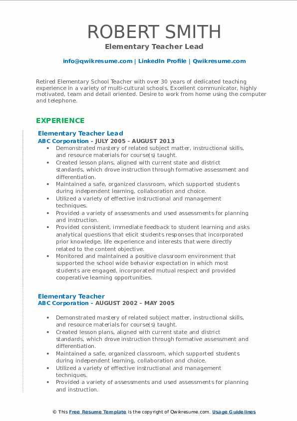 Elementary Teacher Lead Resume Format