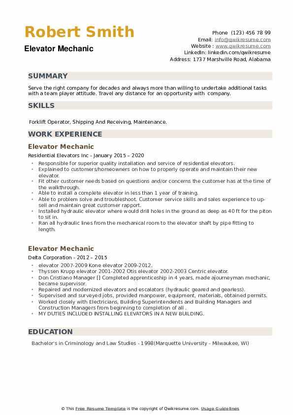 elevator mechanic resume samples  qwikresume