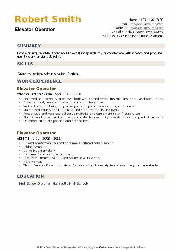 Elevator Operator Resume example