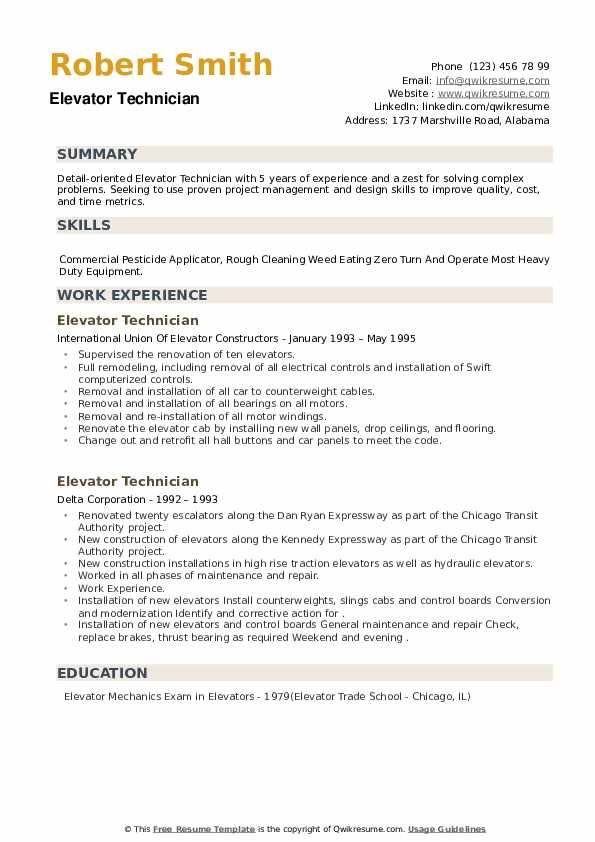 Elevator Technician Resume example