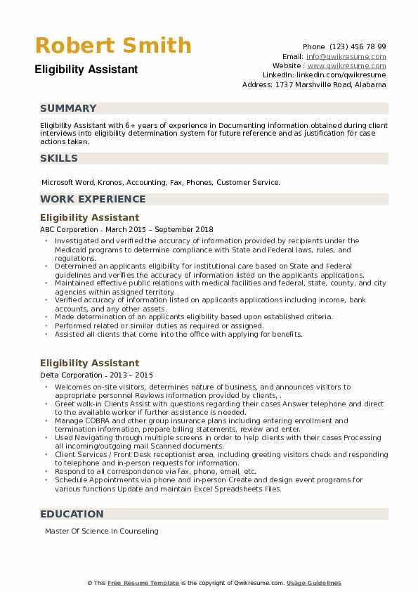 Eligibility Assistant Resume example