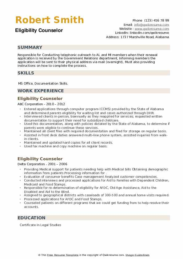 Eligibility Counselor Resume example