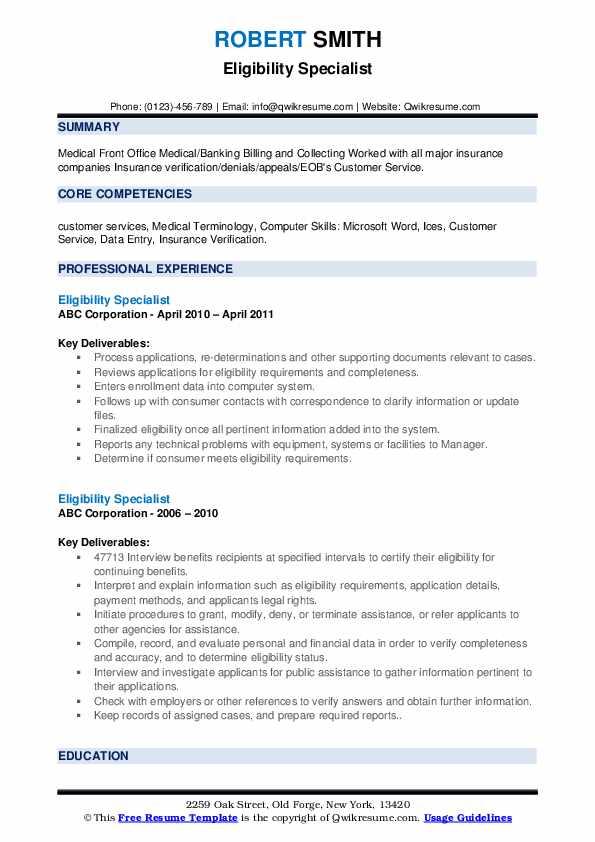 Eligibility Specialist Resume example