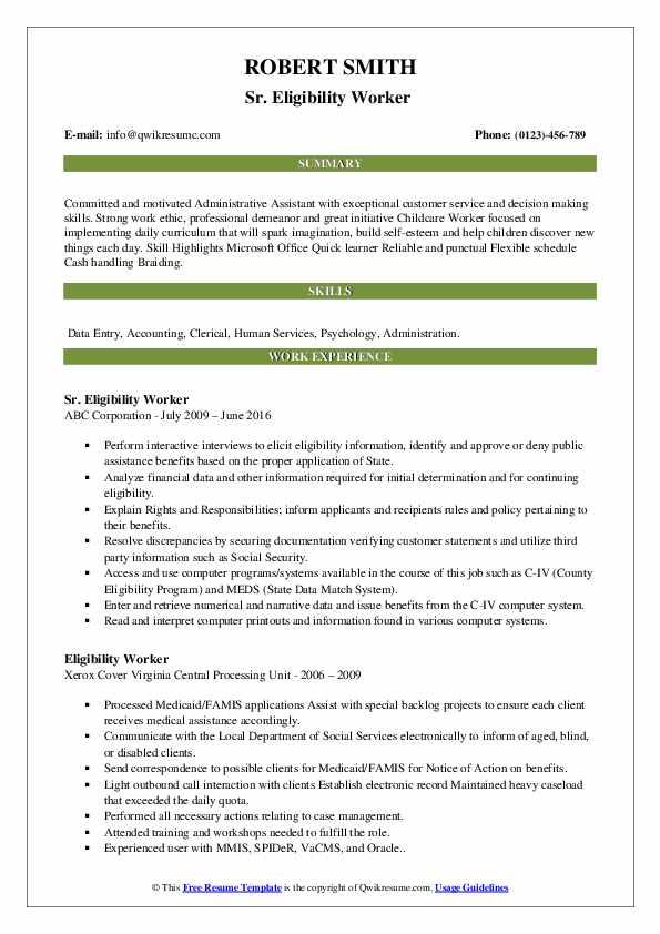 Sr. Eligibility Worker  Resume Example