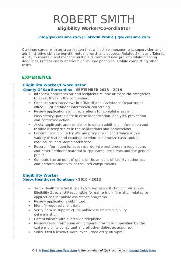 Eligibility Worker/Co-ordinator Resume Sample