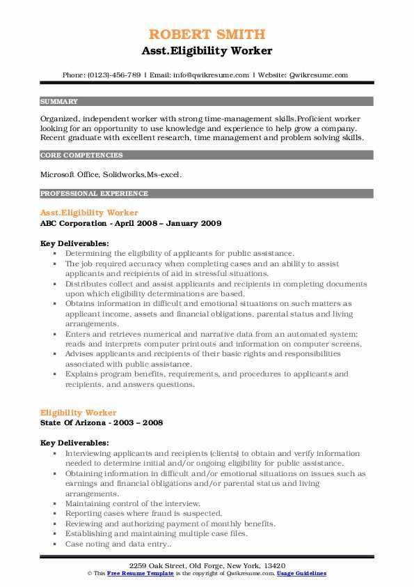 Asst.Eligibility Worker Resume Template