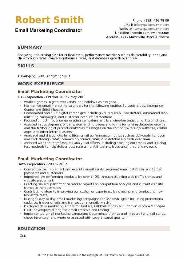 Email Marketing Coordinator Resume example