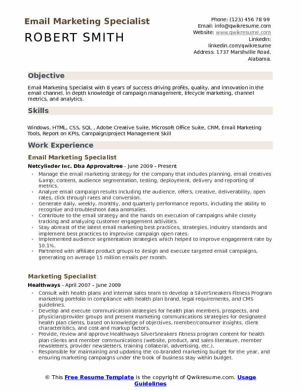 Email Marketing Specialist Resume Model