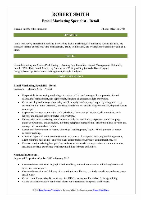 Email Marketing Specialist - Retail Resume Example
