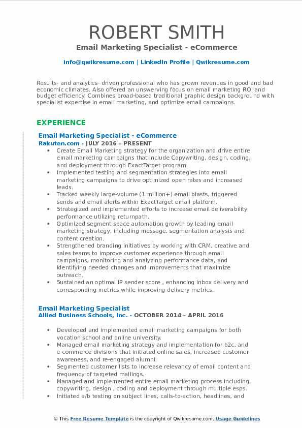 Email Marketing Specialist - eCommerce Resume Sample