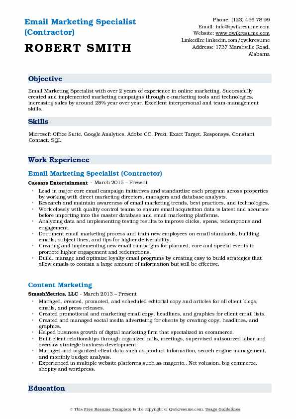 Email Marketing Specialist (Contractor) Resume Example