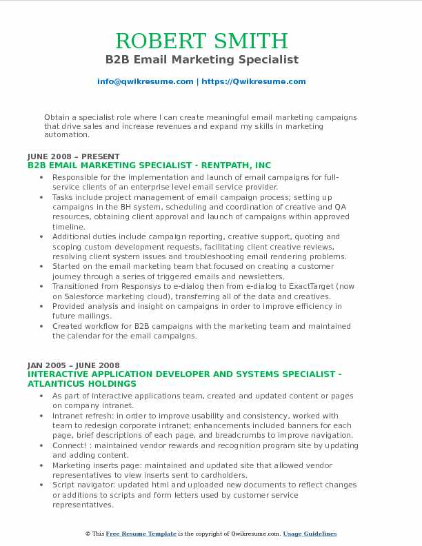 B2B Email Marketing Specialist Resume Model