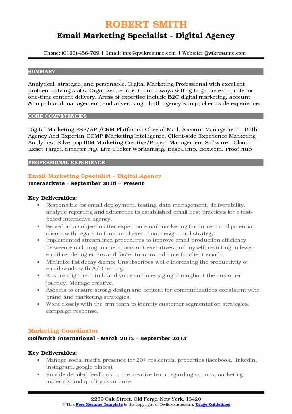 Email Marketing Specialist - Digital Agency Resume Model