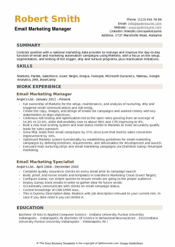 Email Marketing Manager Resume Model