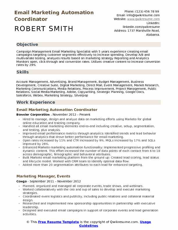 Email Marketing Automation Coordinator Resume Example