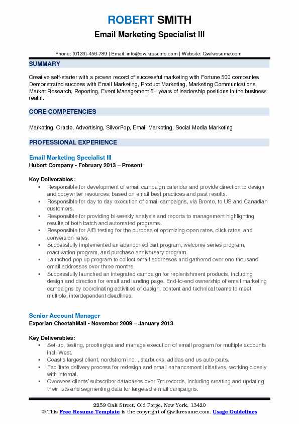 Email Marketing Specialist III Resume Model