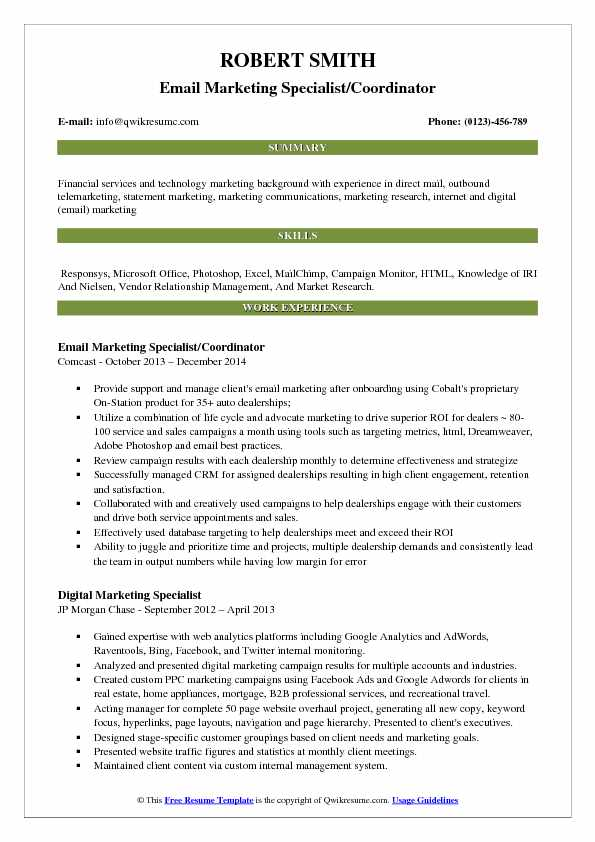 Email Marketing Specialist/Coordinator Resume Model