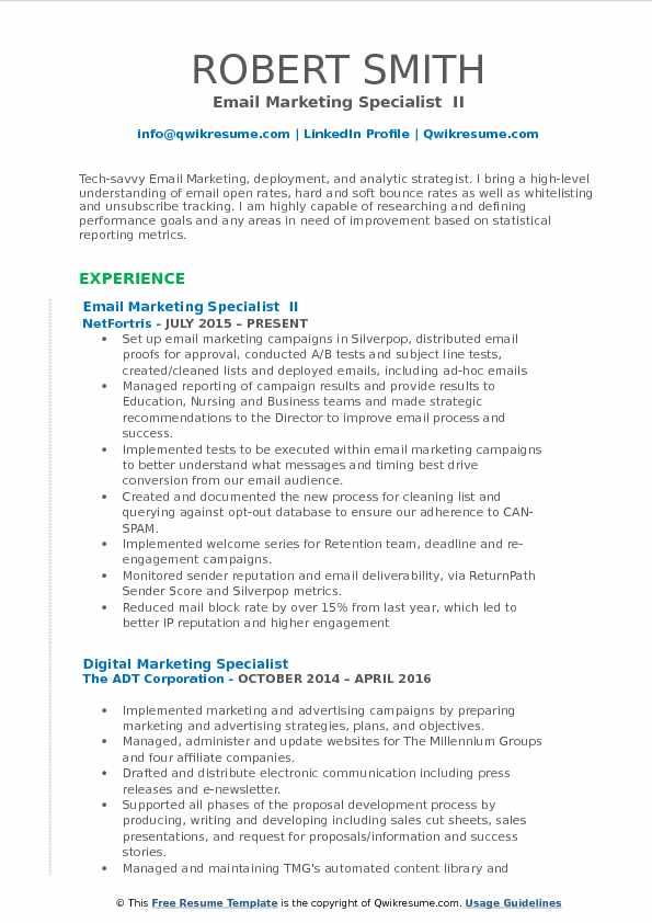 Email Marketing Specialist  II Resume Example