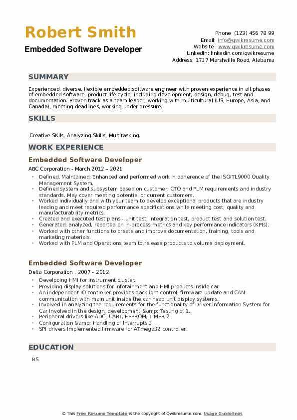 Embedded Software Developer Resume example