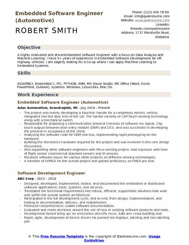 Embedded Software Engineer (Automotive) Resume Example
