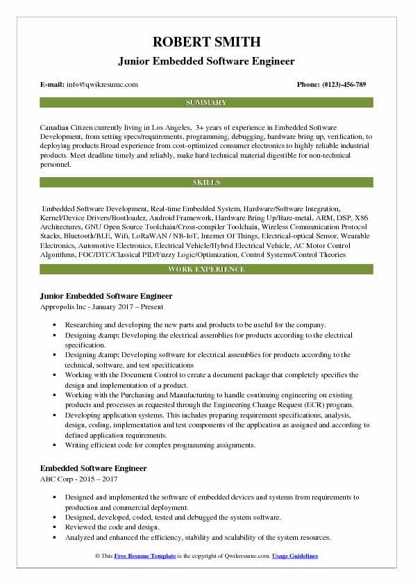 Junior Embedded Software Engineer Resume Template