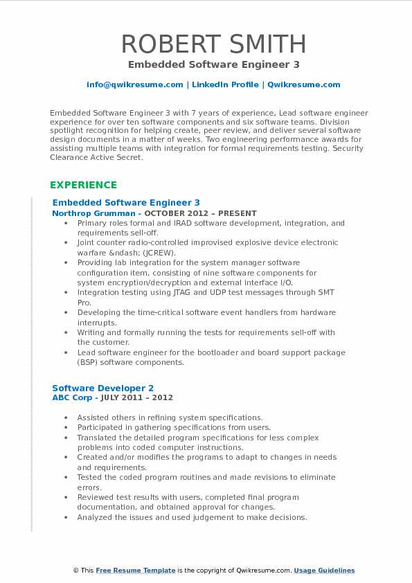 Embedded Software Engineer 3 Resume Model