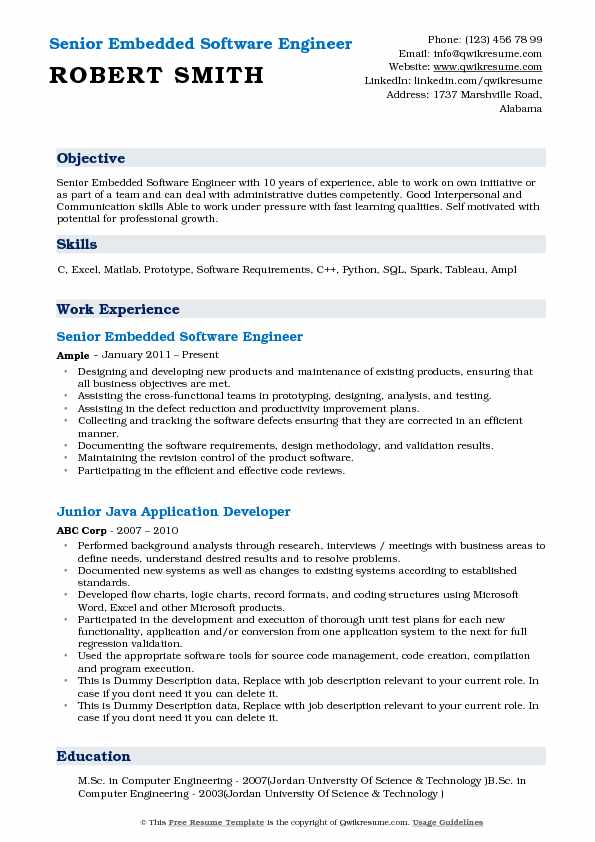 Senior Embedded Software Engineer Resume Example