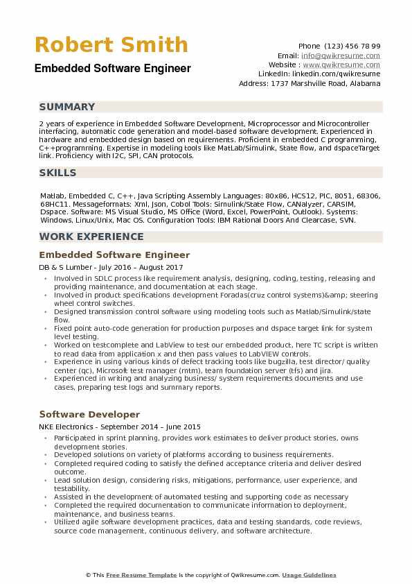 Embedded Software Engineer Resume example