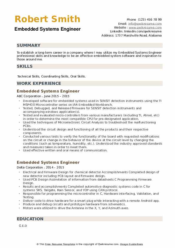 Embedded Systems Engineer Resume example