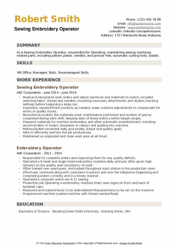 Embroidery Operator Resume example