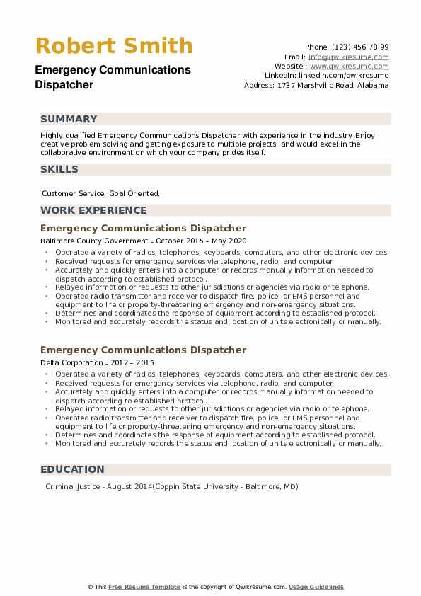 Emergency Communications Dispatcher Resume example