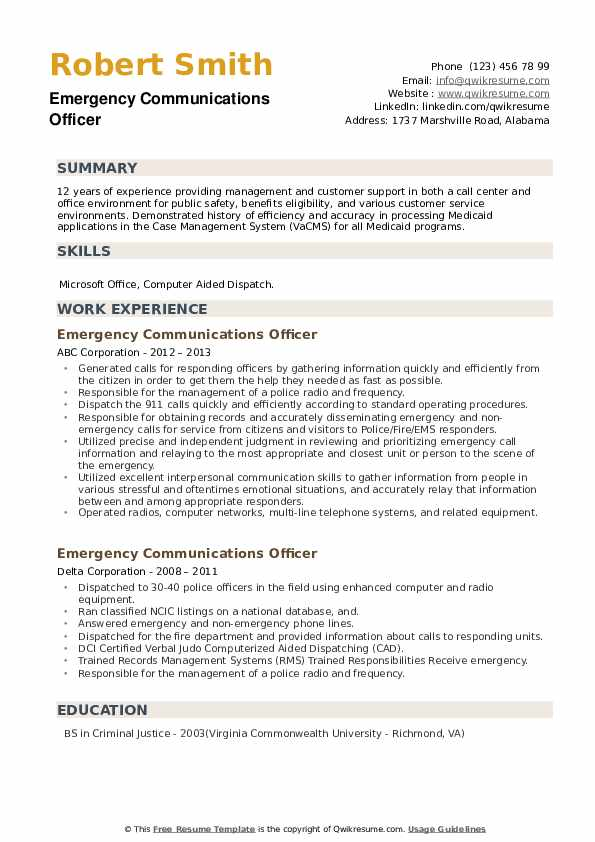 Emergency Communications Officer Resume example