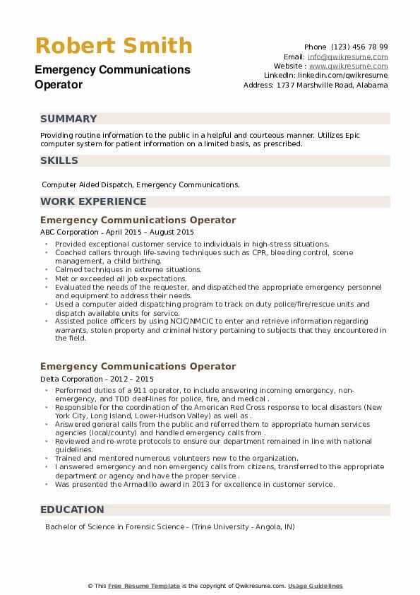 Emergency Communications Operator Resume example