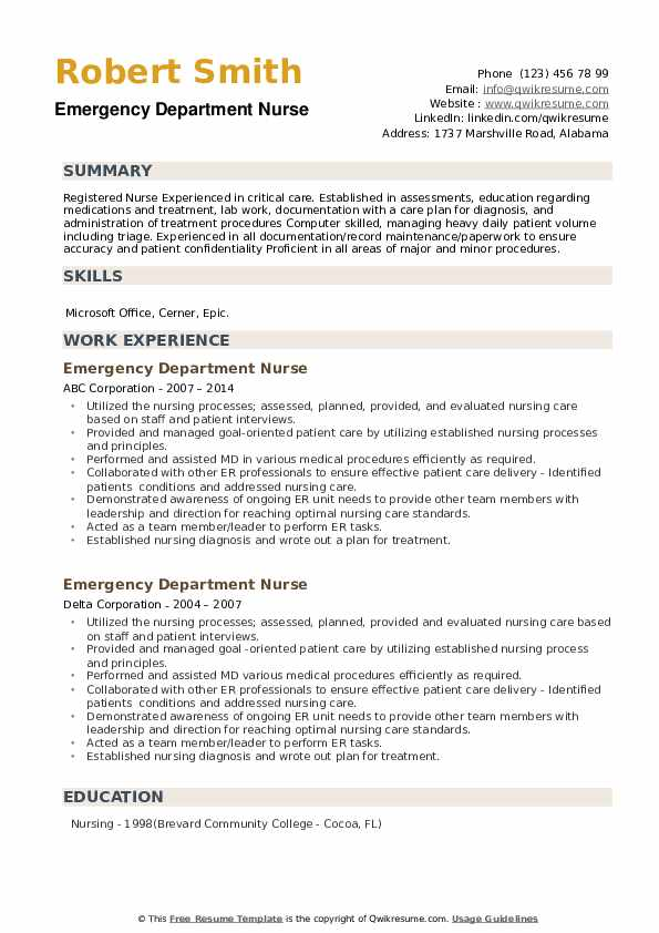 Emergency Department Nurse Resume example