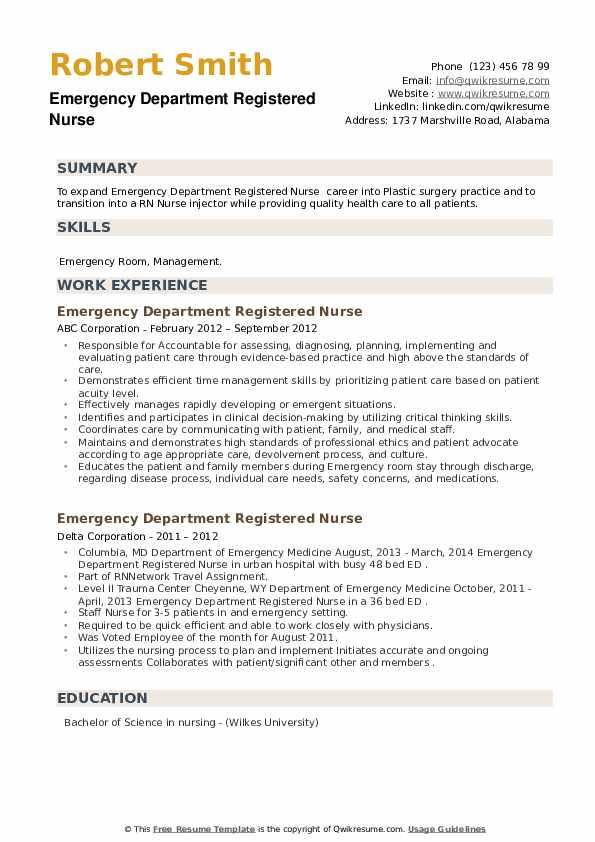 Emergency Department Registered Nurse Resume example