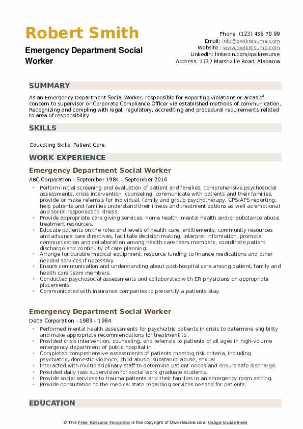 Emergency Department Social Worker Resume example