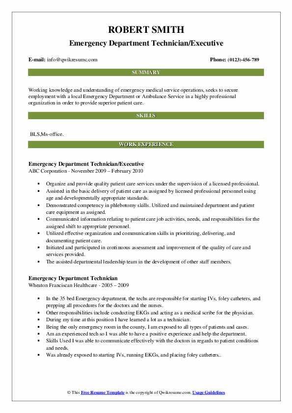 Emergency Department Technician/Executive Resume Model