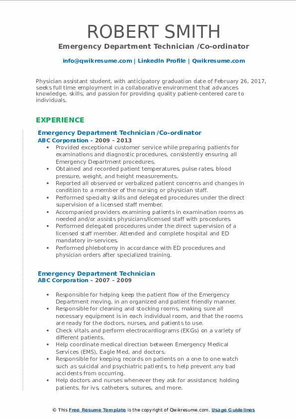 Emergency Department Technician /Co-ordinator Resume Model
