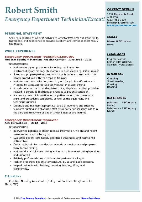 Emergency Department Technician/Executive Resume Template