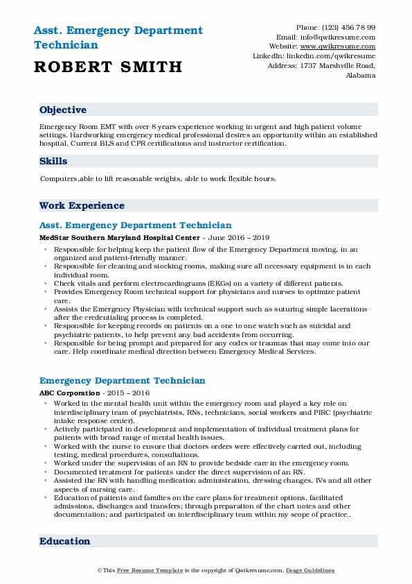 Asst. Emergency Department Technician Resume Format