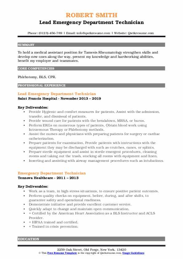 Lead Emergency Department Technician Resume Model