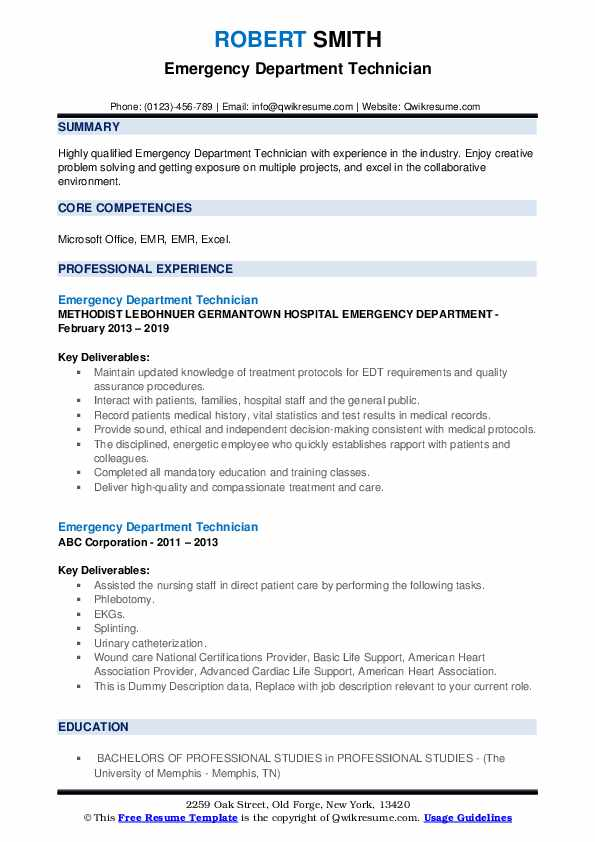 Emergency Department Technician Resume example