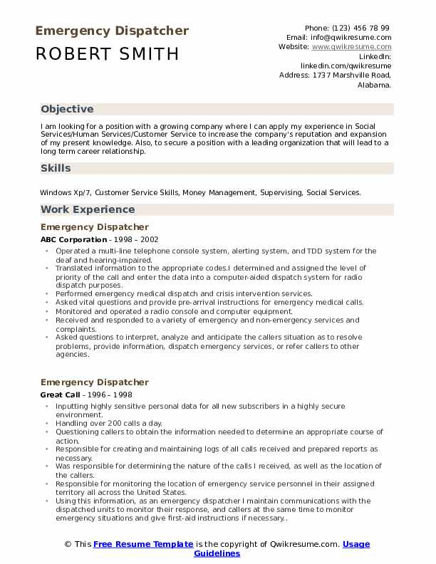 emergency dispatcher resume samples