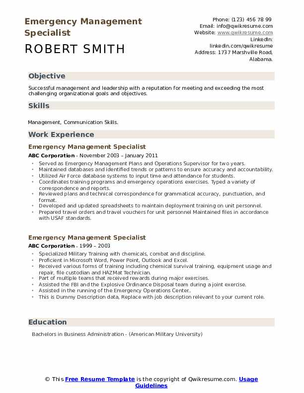 Emergency Management Specialist Resume example