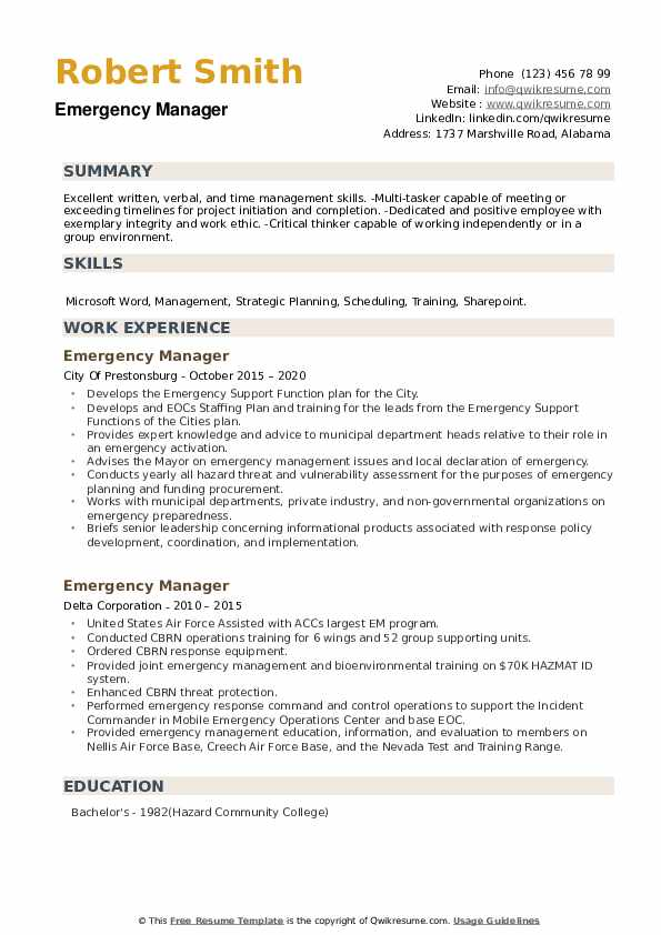 Emergency Manager Resume example