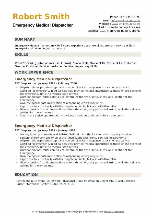 Emergency Medical Dispatcher Resume example