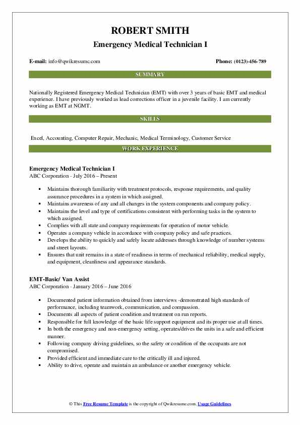 Emergency Medical Technician I Resume Format
