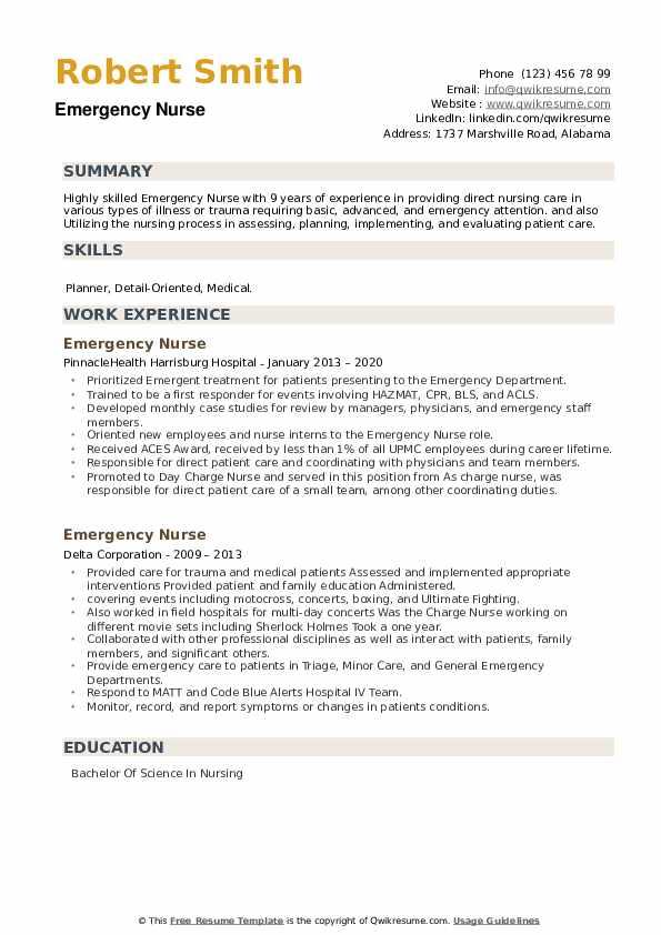 Emergency Nurse Resume example